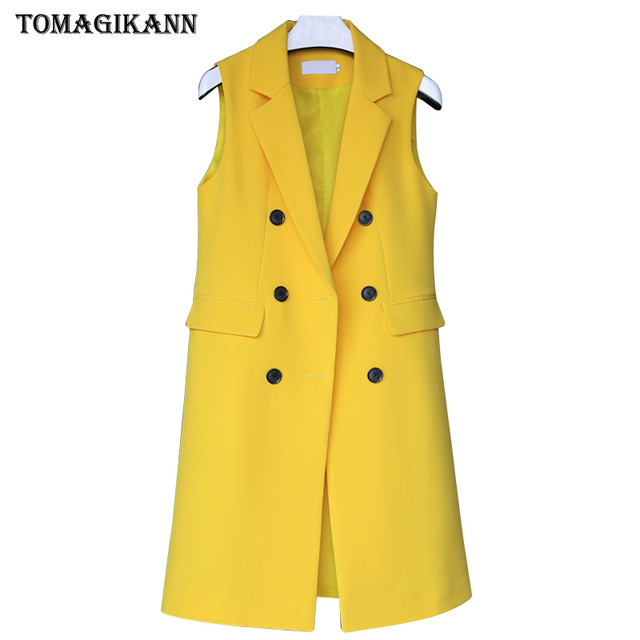 OL Solid Long Style Women Suit Vest 2019 Korean Female Flap Pockets Double Breasted Turn Down Collar Waistcoat Femme Colete Tops