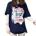 New 2017  spring new Korean version of the Beatles cartoon loose short-sleeved T-shirt women tops casual clothing summer style