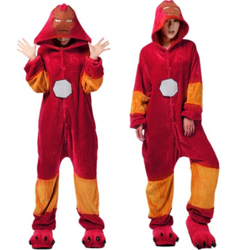 Autumn and winter new iron man couple cute cartoon animals joined in pajamas men and women flannel home dress.