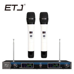 ETJ Wireless Microphone with Screen 50M Distance 2 Channel Handheld Mic System Karaoke Wireless Microphone U-207