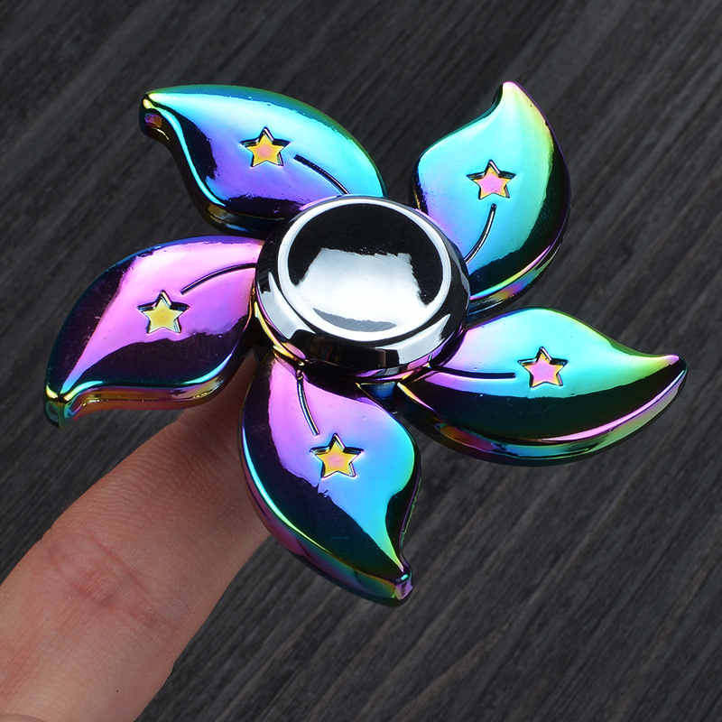 Top Finger Spinner Fidget Toy Rainbow Metal Bearing Cool Gradient Rainbow Color Fidget Spinners Adult Focus Stress Relief Toys