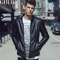 GUEQI Man Motorcycle Leather Jackets Plus Size M-3XL Stand Collar Black Winter Windproof Outerwear Men Fashion Coats