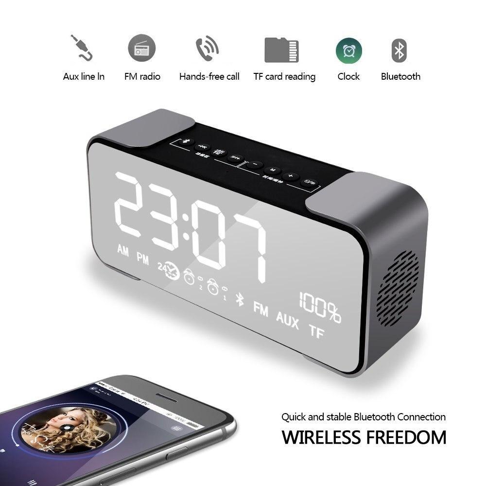 Alarm Clock Ireless Audio Bluetooth Speaker USB Charging With Electronic Portable Bluetooth Alarm Clock Wireless Stereo Speaker
