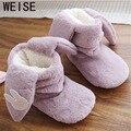 2017 Новый Плюшевые Теплые Тапочки Женщин Долго Уха Кролика Хлопка Домашние Тапочки Pantoufle Femme Крытый Обувь Симпатичные Цвет Розовый Фиолетовый