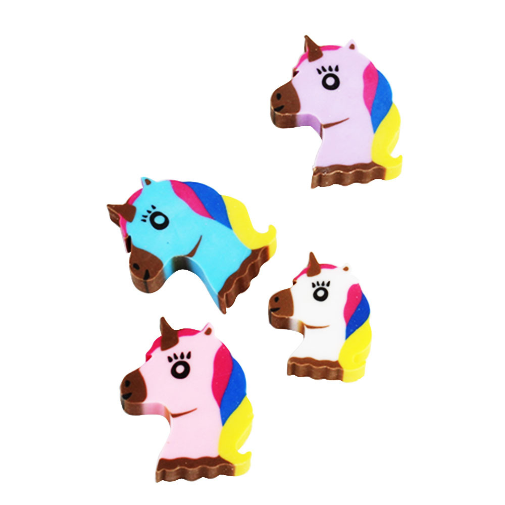 4 Pcs/pack Cartoon Unicorn Eraser Rubber Eraser Primary Student Prizes Promotional Gift Stationery