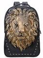 Мода 3D голова льва печатных мужчины рюкзаки большой емкости мужская кожа рюкзак черный заклепки аниме школьный mochila masculina