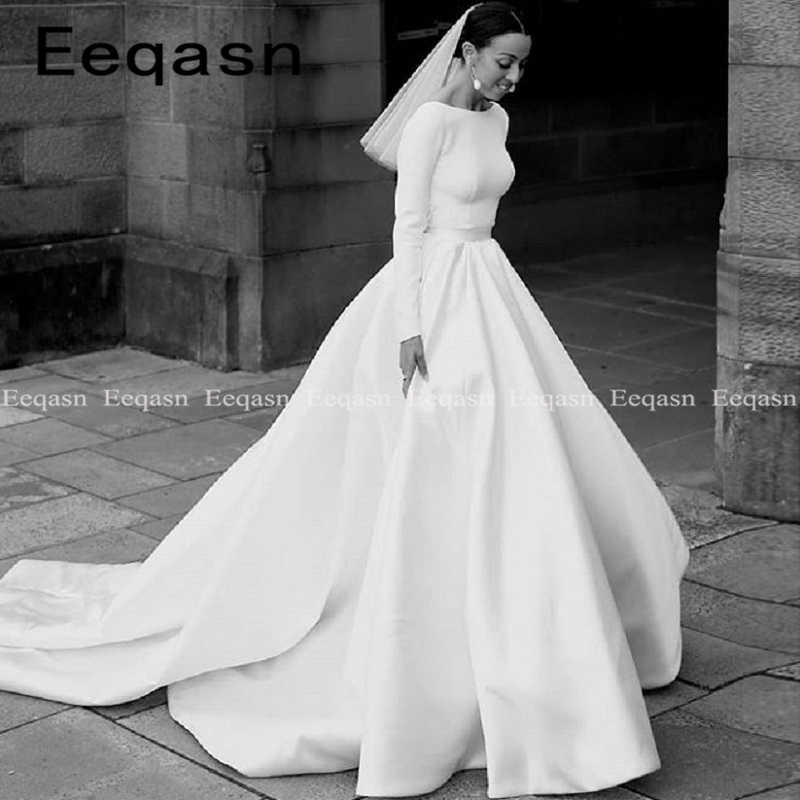 Elegant beautiful Long Sleeve Wedding Dress 2019 New Simple Sexy Backless Ball Gown Satin Bridal Custom Made Vestido De Noiva