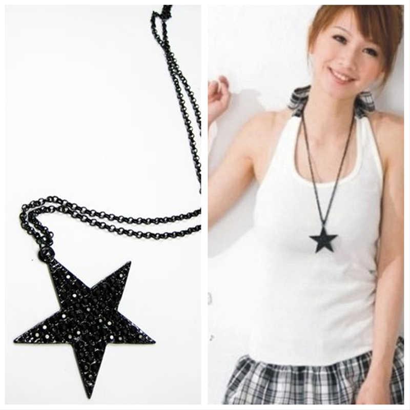 X49 Modeschmuck Schwarz Pentagon Fünf-stern Anhänger Halskette Für Frauen Hip Hop Punk Lange Pullover Halskette Großhandel