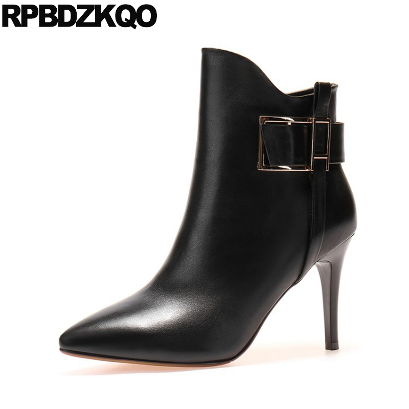 Metal High Heel Side Zip Boots Sexy Pointed Toe Booties Black Shoes Short Stiletto Autumn Women Brand Ankle Genuine Leather New fashion velvet women short booties pointed toe back zip metal decor ankle boots botines mujer women platform pumps shoes