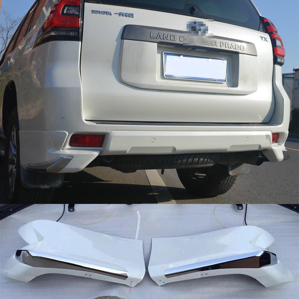 Protection de lèvre de protection de pare-chocs de coin arrière de couleur blanche en plastique d'abs couvre pour Toyota Cruiser Prado FJ150 FJ 150 2018