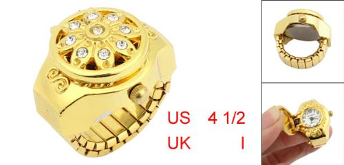 YCYS-Round Dial Crystal Flower Elastic Band Finger Ring Watch for Lady