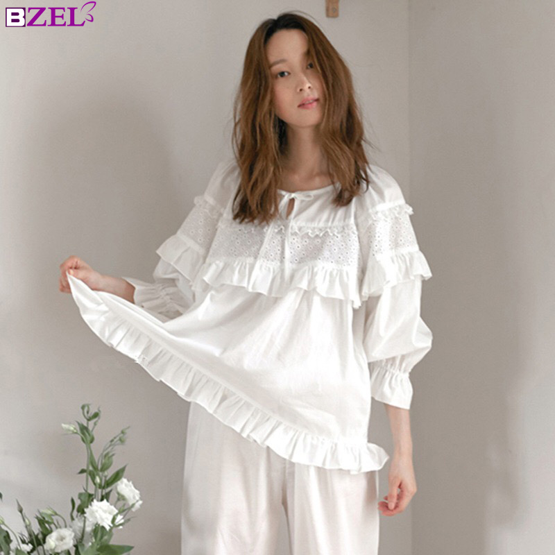 8305f5c309 Detail Feedback Questions about Autumn Winter Sexy Pajama Long Sleepwear  Lingerie White Cotton Pyjamas Women Casual Nightwear Hot Pijima Adult  Loungewear ...