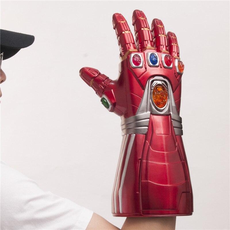 1:1 LED Light Avengers 4 Iron Man Thanos Infinity Stone Cosplay Gloves Tony Stark Superhero Cosplay Props PVC Kid Gift(China)