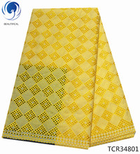 BEAUTIFICAL swiss voile lace cotton yellow african zwitserse 5yards high quality for laces dresses TCR348