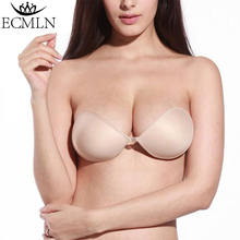 ECMLN Silicone Push Up Women's Backless bras Strapless Adhesive bra Invisible sexy seamless bra intimates underwear