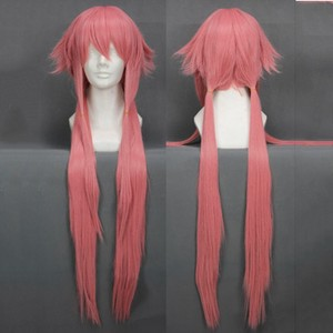 Image 2 - The Future Diary Yuno Gasai 80cm Long Pink Straight Womens Girl Heat Resistant Cosplay Costume Wig + Track + Cap