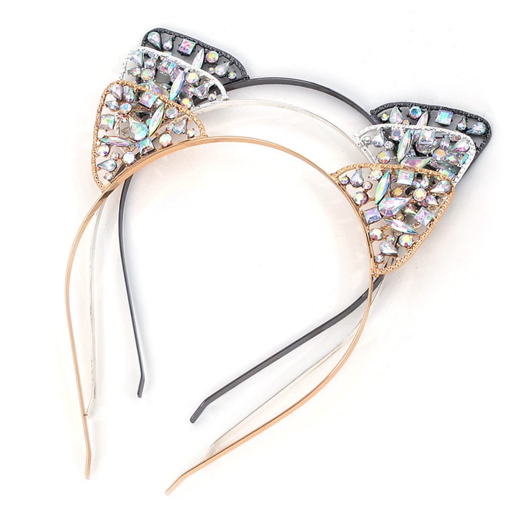 1PC Women Girls Hair Hoop Glitter Crystal Metal Rhinestone Cat Ear Headband Hairband Costume Party Hair Band Accessories