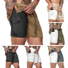 New Double Layer Shorts Men Summer Quick-drying Breathable Running Men Shorts Sports Training Fitness Short Pants