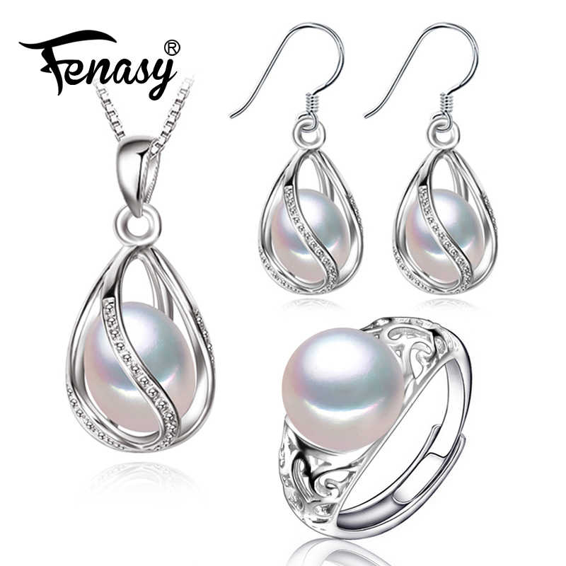 FENASY 925 Sterling Silver Cage Pendant Pearl Jewelry Sets Natural Pearl Pendant Necklace Cage Earrings For Women Silver Ring