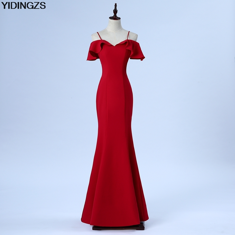 YIDINGZS New Design Sofe Satin Spaghetti Strap Simple Bridesmaid Dress Wine Red Wedding Party Dress Under 50