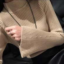 Fashion Warm Cashmere Sweater Bell Sleeve Mock Neck Sweet Wool Sweater Women Sweaters Jumper Pull Winter Autumn Pullover Tops bell sleeve jumper