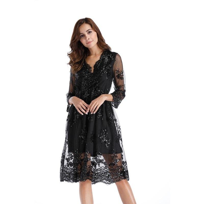 Women Sexy V-neck Sequin Party Dresses Mesh Streetwear Christmas Midi Dress Female 2017 Autumn Dress Vestido