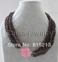 FREE SHIPPING>>> HOT1224 6row natural garnet chip necklace cat eye flower GP clasp