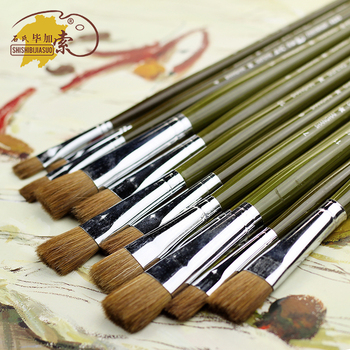 6Pcs/Set Oil Paint Brush Fine Weasel Hair Artistic Watercolor Brushes Flat Head Painting Brush For Acrylic Gouache Art Supplies 6pcs fine bristle hair oil paint brush set filbert head woodlen handle professional paintbrush for artist oil painting supplies
