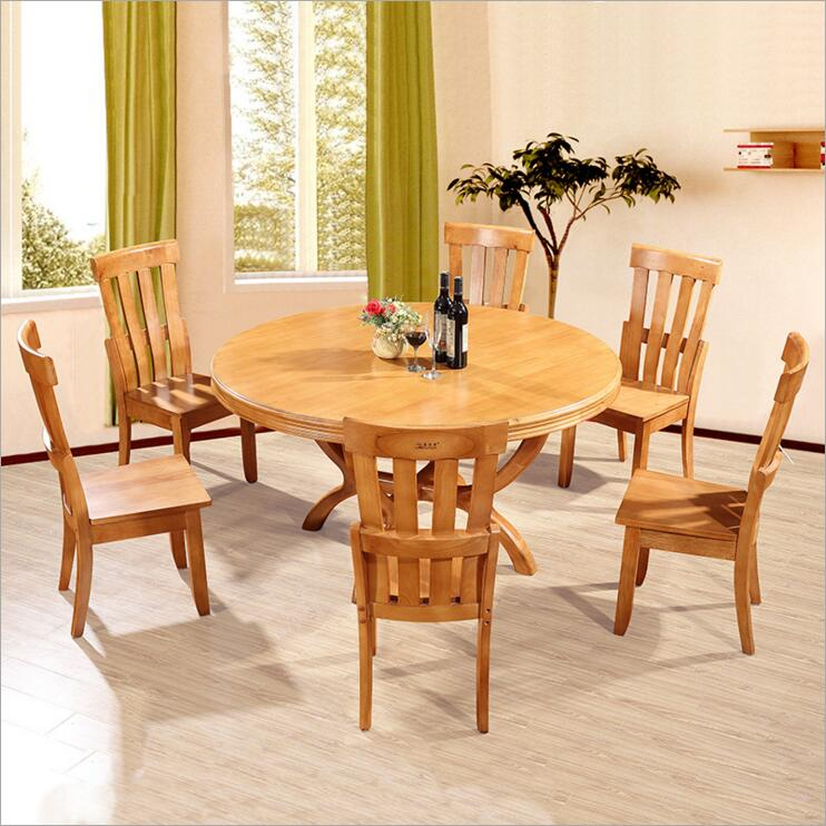 Modern Style Italian Dining Table, 100% Solid Wood Italy Style Luxury round Dining Table set o122