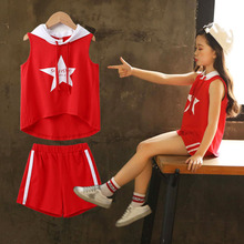 Summer Cute Kids Girls Star Printing Hooded Sleeveless Vest Top Short Pants Girls Set Children Clothes Red White Girls Clothing basik kids vest hooded gray melange kids clothes children clothing