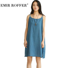 EMIR ROFFER 2018 Summer Blue Cotton Linen Dress Female Women Sexy Mini Spaghetti Straps Boho Beach Ladies Casual Loose Dresses