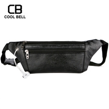 PU Leather Black Waist Bag Men Business Casual Waterproof Travel Messenger Bags Multifunction Mobile phone Cycling Sports Bags