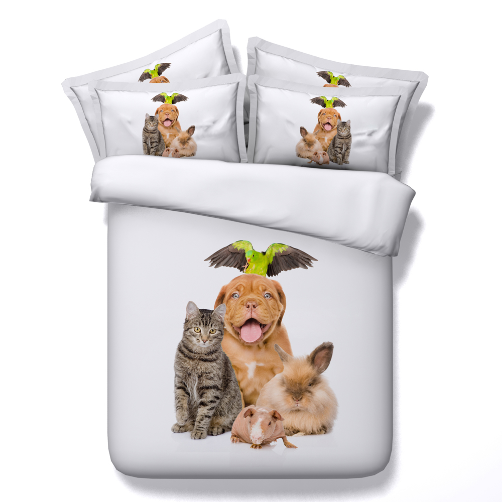 Aliexpress Com Buy Jf 015 Lovely Dog And Cat Print Bedding Sets