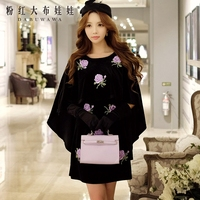 Dabuwawa 2016 Dress Velvet Autumn And Winter Runway Black Embroidery Fashionable Black Women Cape Cloak Party