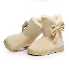 Mulheres Venda quente de Inverno Botas Cor Sólida Arco Mulher Marca Botas Macias Confortáveis Dedo Do Pé Redondo Das Mulheres do Sexo Feminino Sapatos de neve 2016 SMC905