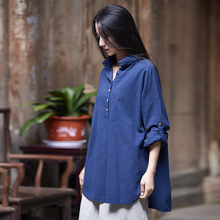 Solid White Red Blue Cotton Women Blouse Vintage Loose Casual Summer Blouses Shirt Original Design Quality Tops Blusas B153