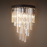Vintage Loft Crystal Wall Sconce Lamp Wall Light Indoor Lighting for Home Hotel Restaurant Living and Dining Room Decoration
