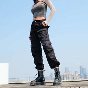 Image 3 - Sweetown מטען שחור מכנסיים נשים אופנה 2020 כיסי טלאי היפי מכנסיים מזויף רוכסן ארוג גבוהה מותניים מכנסיים Streetwear