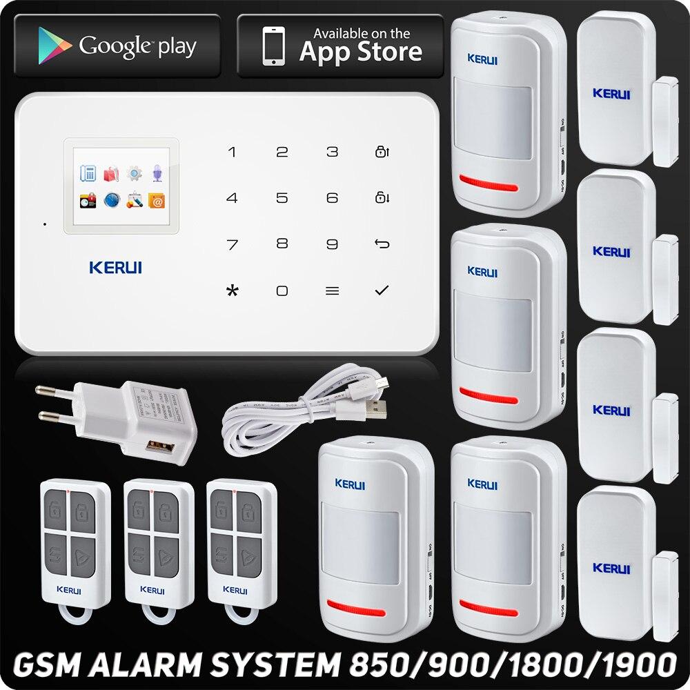Système d'alarme Kerui G18 GSM TFT Android IOS APP clavier tactile Android ISO App système d'alarme antivol maison intelligente capteur de mouvement bricolage
