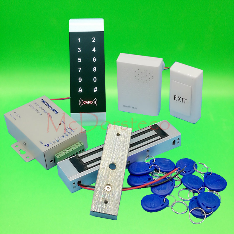 DIY Complete 125khz Rfid Door Lock control system 350lbs 180kg Electric Magnetic Lock +Power supply+exit button+keyfobs x6 rfid door entry system 180kg magnetic lock and u bracket for glass door