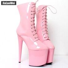 jialuowei 20CM Extreme High Heels Platform Boots Lace Up Pole Dancing Ankle Boots Side Zip Black Plus Size