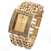 G D Women Gold Triple Chain Stainless Steel Band Women S Rhinestone Luxury Quartz Analog Wrist