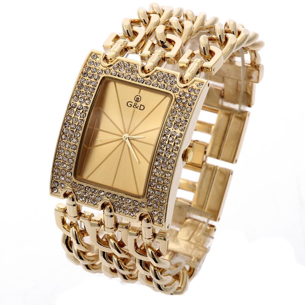 G&D Wristwatches Women Quartz Watches Relogio Feminino Dress Watch Gifts Top Brand Luxury Clock Original Jelly Casual Lady Gold free shipping kezzi women s ladies watch k840 quartz analog ceramic dress wristwatches gifts bracelet casual waterproof relogio