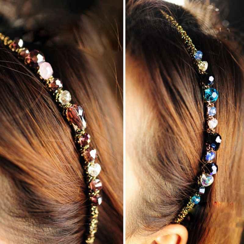 Women Girls Luxury Glitter Rhinestone Headband Faux Crystal Jewel Hair Metallic