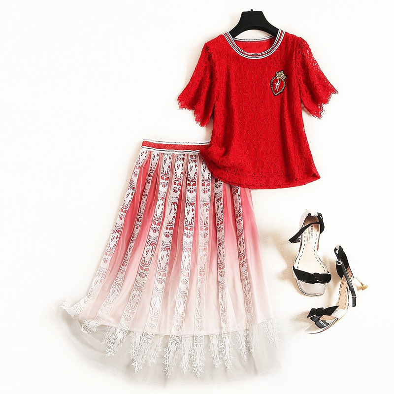 Europe Fashion Two Piece Set Korean Red Short Sleeve Lace Shirt Crop Top And Printed Net Yarn Skirt Summer 2 Piece Set Women