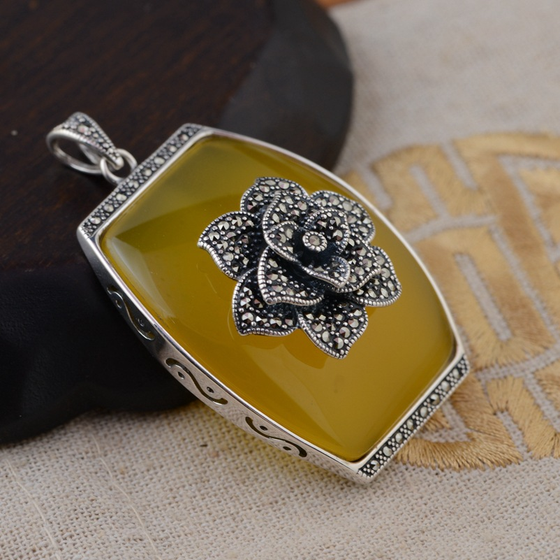[silver] silver deer king S925 wholesale sterling silver pendant antique style female chalcedony Pendant NEW s925 pure silver personality female models new beeswax