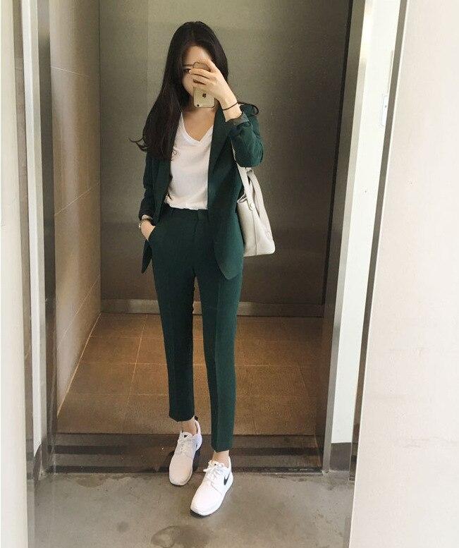 Blazer pants suit set women office suits High quality solid color long sleeve blazer Casual pants two-piece 2019 autumn new