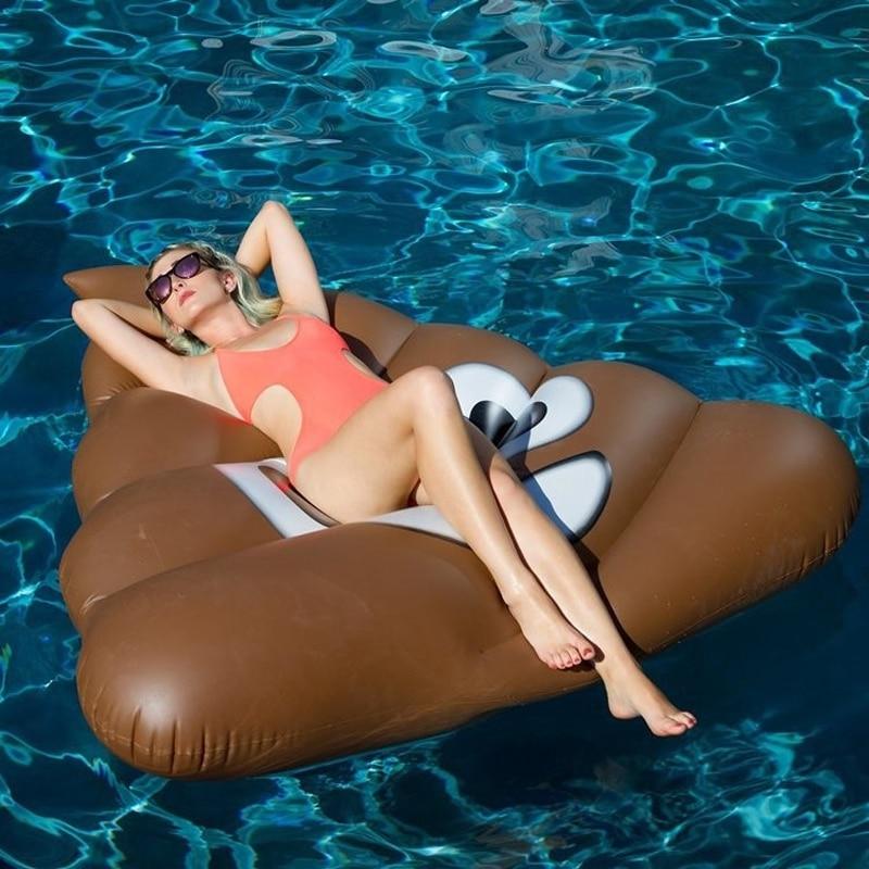 1.6m Giant Funny POOP Poo Shit Pool Float Water Fun Air Bed Life Raft Island Holiday Emoji Shit Lounge Pool Float Swimming Ring mymei pet poop scooper hundekotentsorgung poo туалеты pet katzen poo scooper pick up