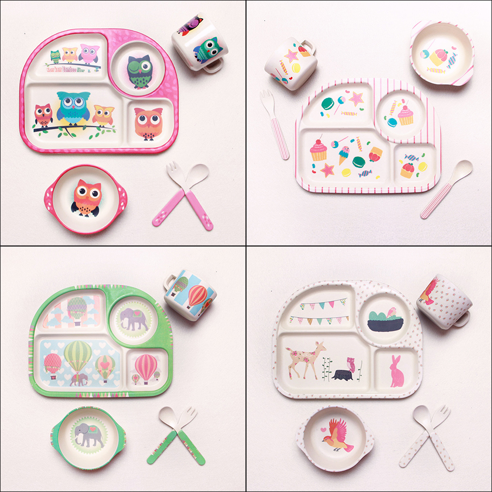 5Pcs Children's Tableware Bowl Fork Spoon Cup Lovely Portable Dishes Cartoon Kindergarten Bamboo Fiber Baby Feeding Food Plate