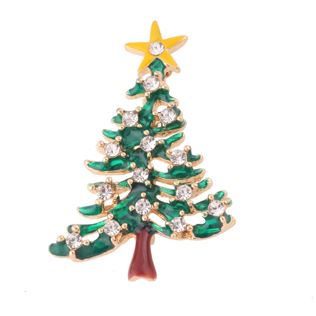 jocestyle new exquisite christmas tree with star design brooch european fashion glazed breast pin women christmas - European Christmas Tree